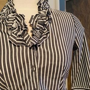 TALBOTS PETITES Striped button down ruffle neck 0P
